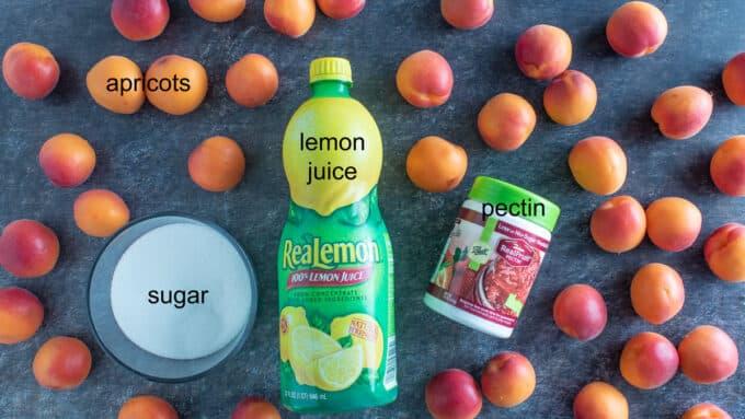 Apricots, sugar, lemon juice and pectin on dark board.