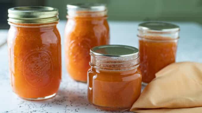 Close up of jars of jam.