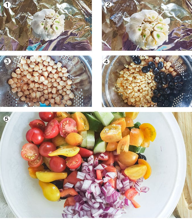 Step by step photographs of the process for making Southwestern salad. See details in recipe below.