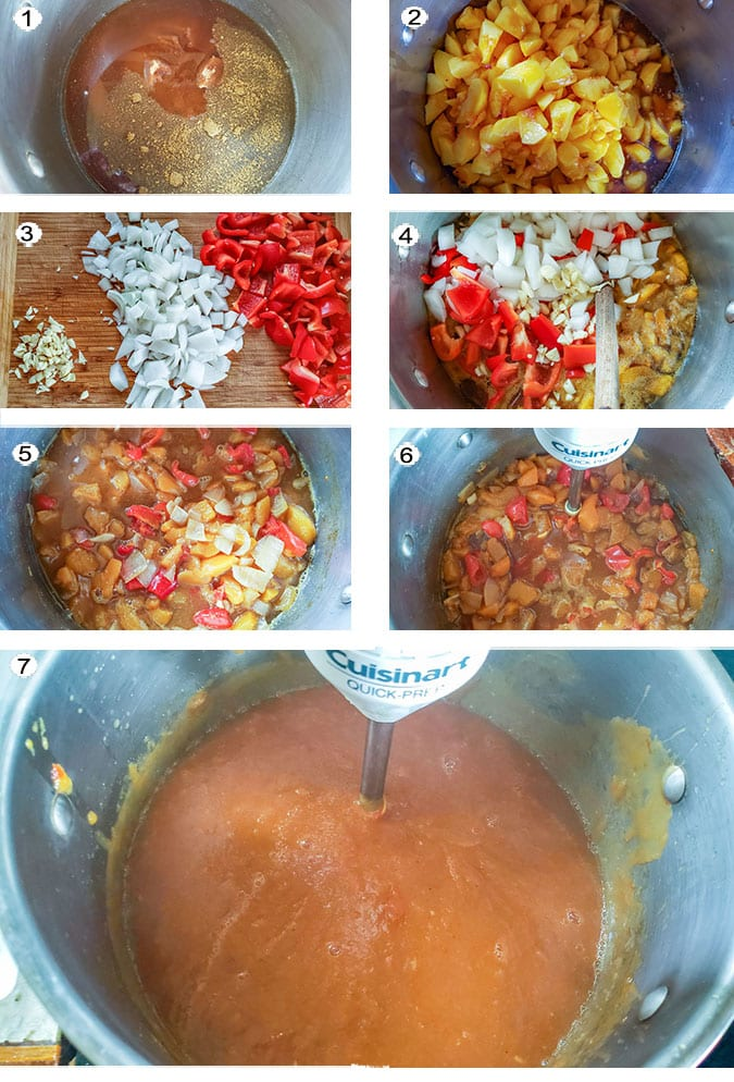 Step by step photographs of the process for making peach bourbon BBQ sauce See details in recipe below.