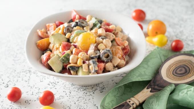 Close up of colorful Southwestern salad.